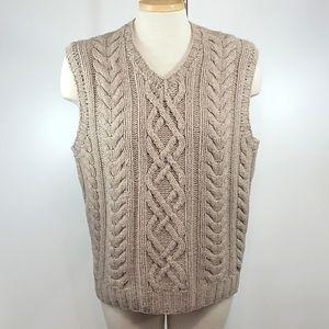 J. CREW Vintage Handknit Lambs wool Cableknit Vest size M